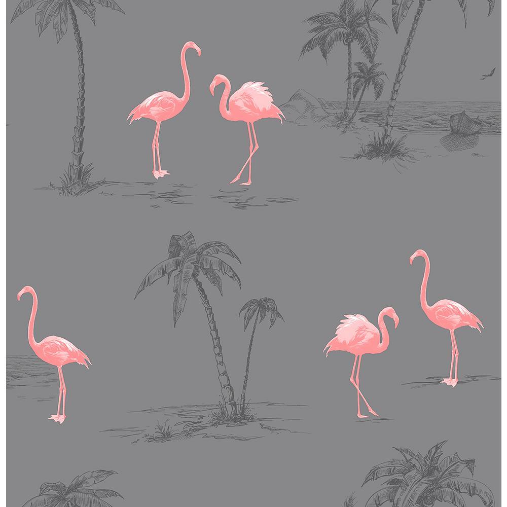 Sanibel Dark Grey Flamingo Wallpaper