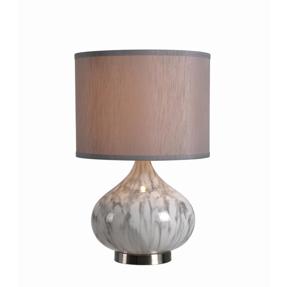 Annalie 18.5 in. White Marble Glass Accent Lamp