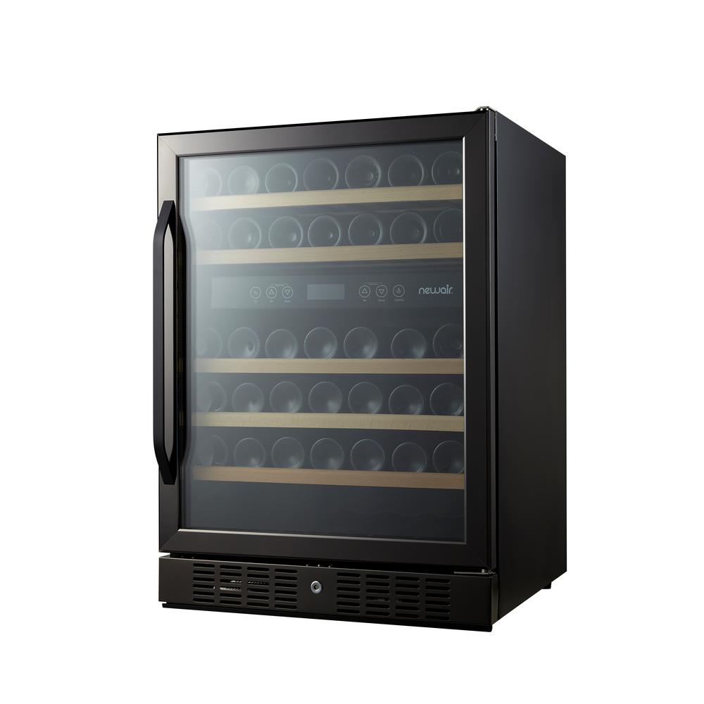 newair dual zone 46 bottle built in wine cooler black stainless steel awr 460db b the home depot. Black Bedroom Furniture Sets. Home Design Ideas