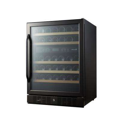 Dual Zone 46 Bottle Built-in Wine Cooler, Black Stainless Steel