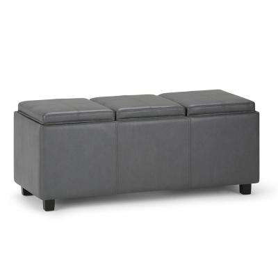 Avalon Stone Grey Extra Large Storage Ottoman Bench with 3-Serving Trays