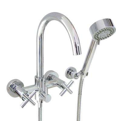 Modern 6 in. 2-Handle 3-Spray Tub and Shower Faucet with Massage Hand Held Shower in Polished Chrome (Valve Included)