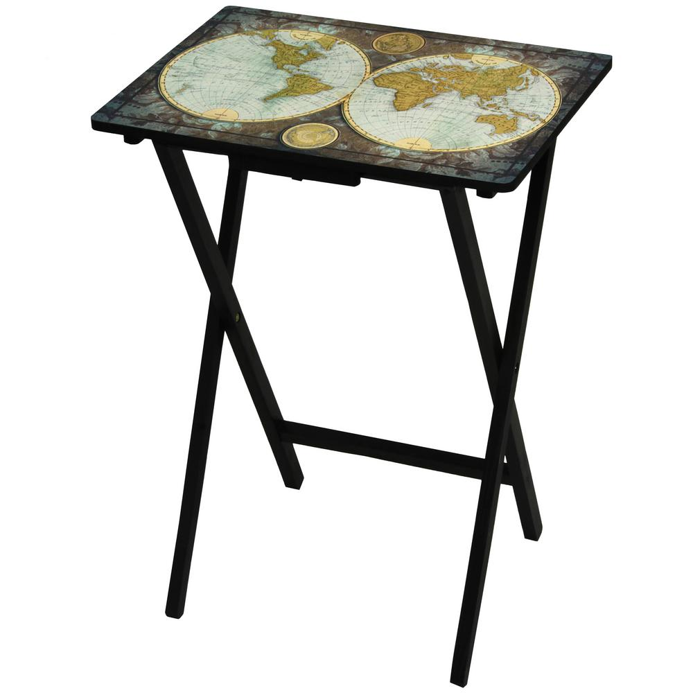 Oriental Furniture Oriental Furniture 19 In. X 13.75 In. Vintage World Map TV  Tray