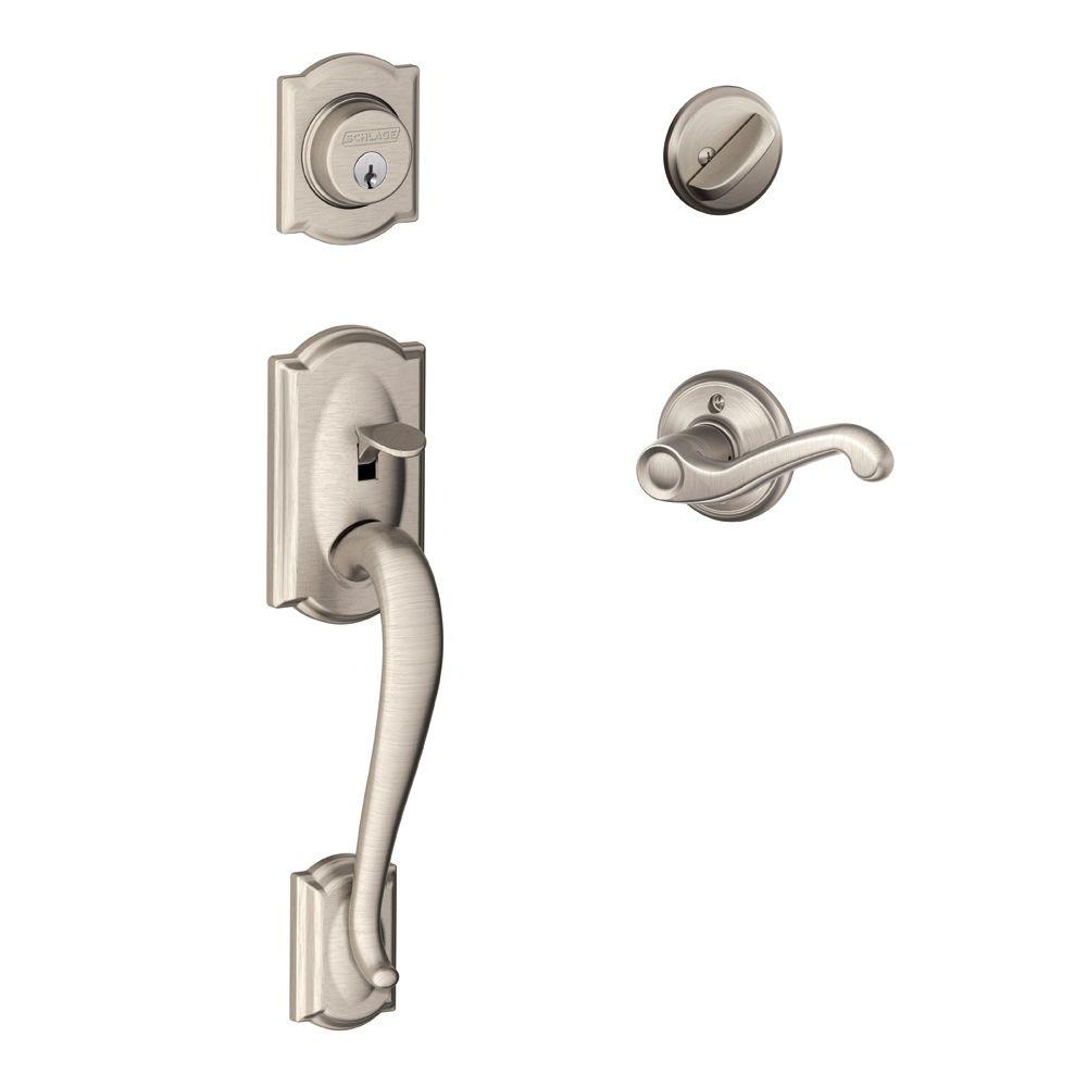 Camelot Satin Nickel Single-Cylinder Handleset with Left-Hand Flair Lever
