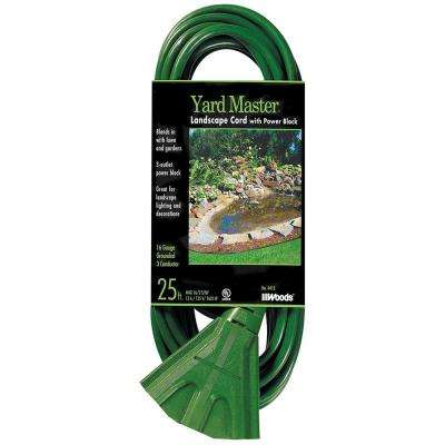25 ft. Outdoor Extension Cord with 3-Outlet Power Block, Green