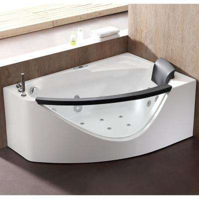 AM198ETL-L 59 in. Acrylic Flatbottom Whirlpool Bathtub in White
