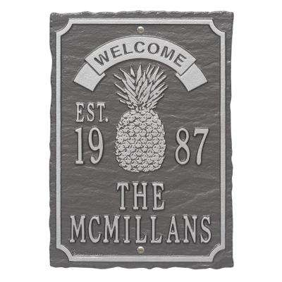 Antebellum Welcome Rectangular Standard Wall 3-Line Anniversary Personalized Plaque in Pewter/Silver