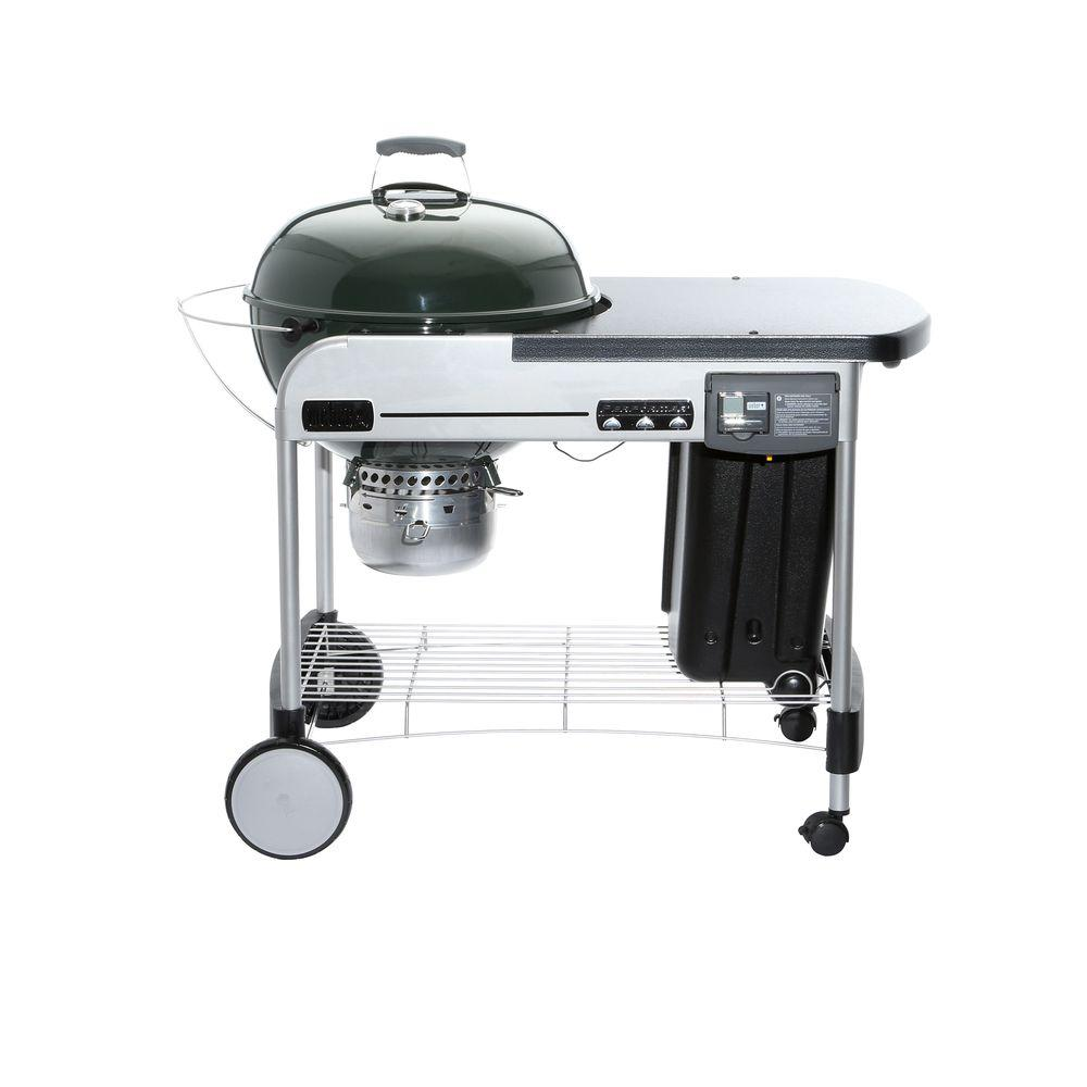 Weber 22 in performer deluxe charcoal grill in green with for Weber performer deluxe