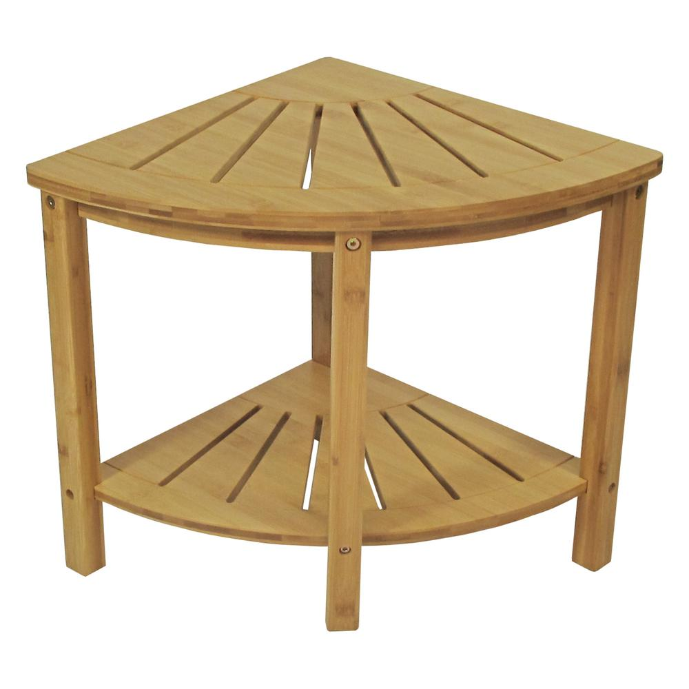 Bamboo Spa Style Corner Shower Seat 5458 The Home Depot