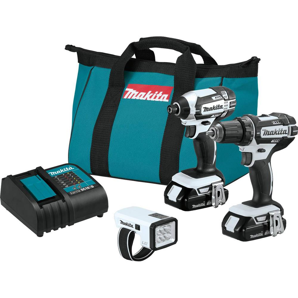 Makita 18-Volt LXT Lithium-ion Cordless Compact Combo Kit (3-Piece) (Drill/ Impact Driver/ Flashlight) w/ (2) Batteries 1.5Ah