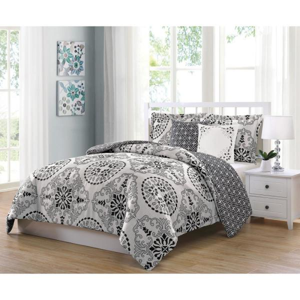 Bailey Gray 5-Piece Reversible Full and Queen Comforter Set YMZ008087