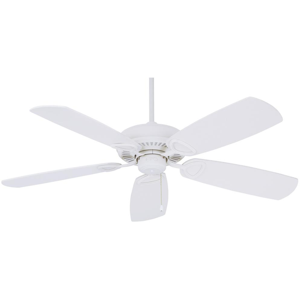 Marquis 52 in. Indoor Chalk White Downrod and Flush Mount Ceiling Fan with Pull Chain Control