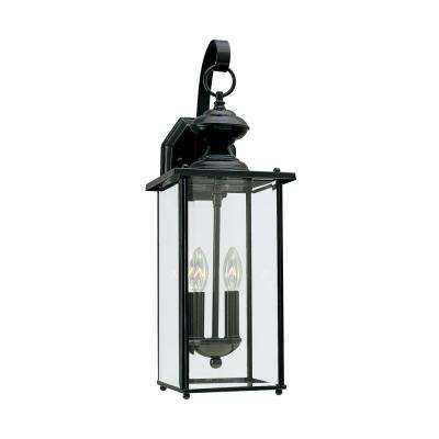 Jamestowne 7 In W 2 Light Black Outdoor Wall Lantern Sconce With Clear Beveled Gl