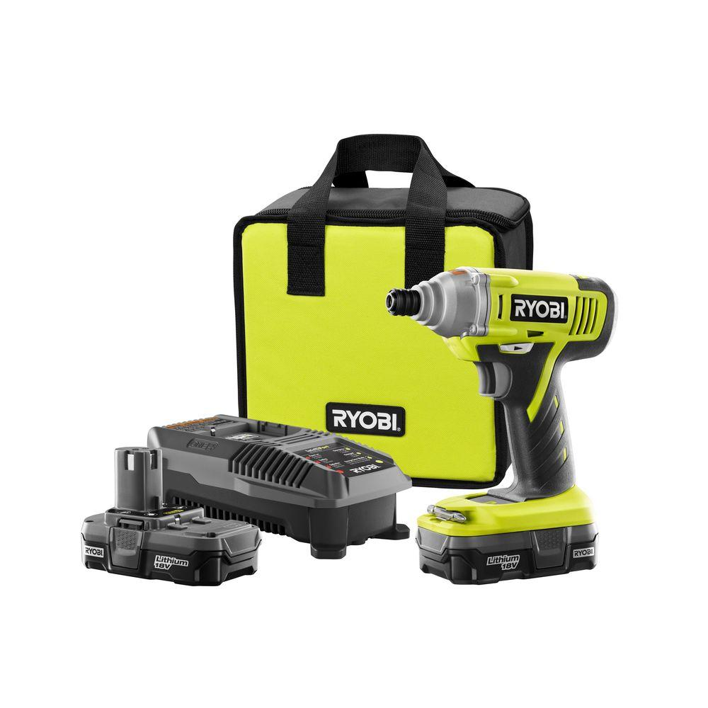 Ryobi 18-Volt ONE+ Lithium-Ion Cordless 1/4 in. Impact Driver Kit with Two 1.3 Ah Batteries, Dual Chemistry Charger, Tool Bag