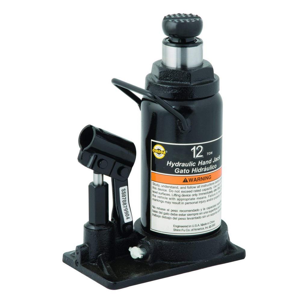 Omega Lift 12 Ton Capacity Black Hydraulic In Line Bottle