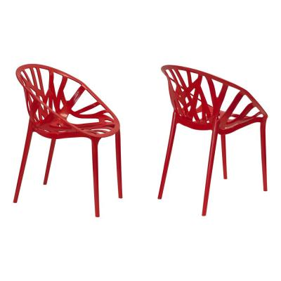 Branch Plastic in Red Modern Dining Side Chair (Set of 2)