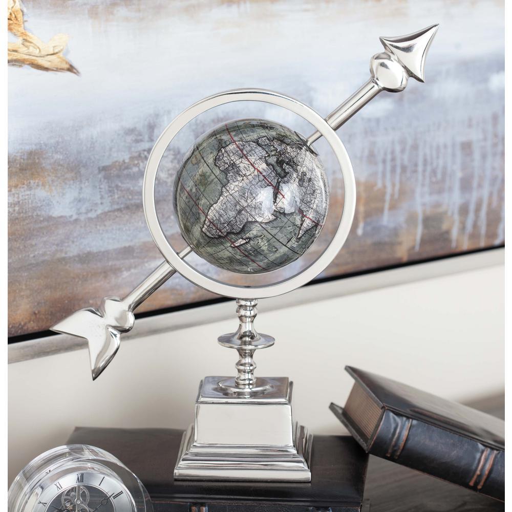14 in. Modern Silver Aluminum and Plastic Decorative Globe