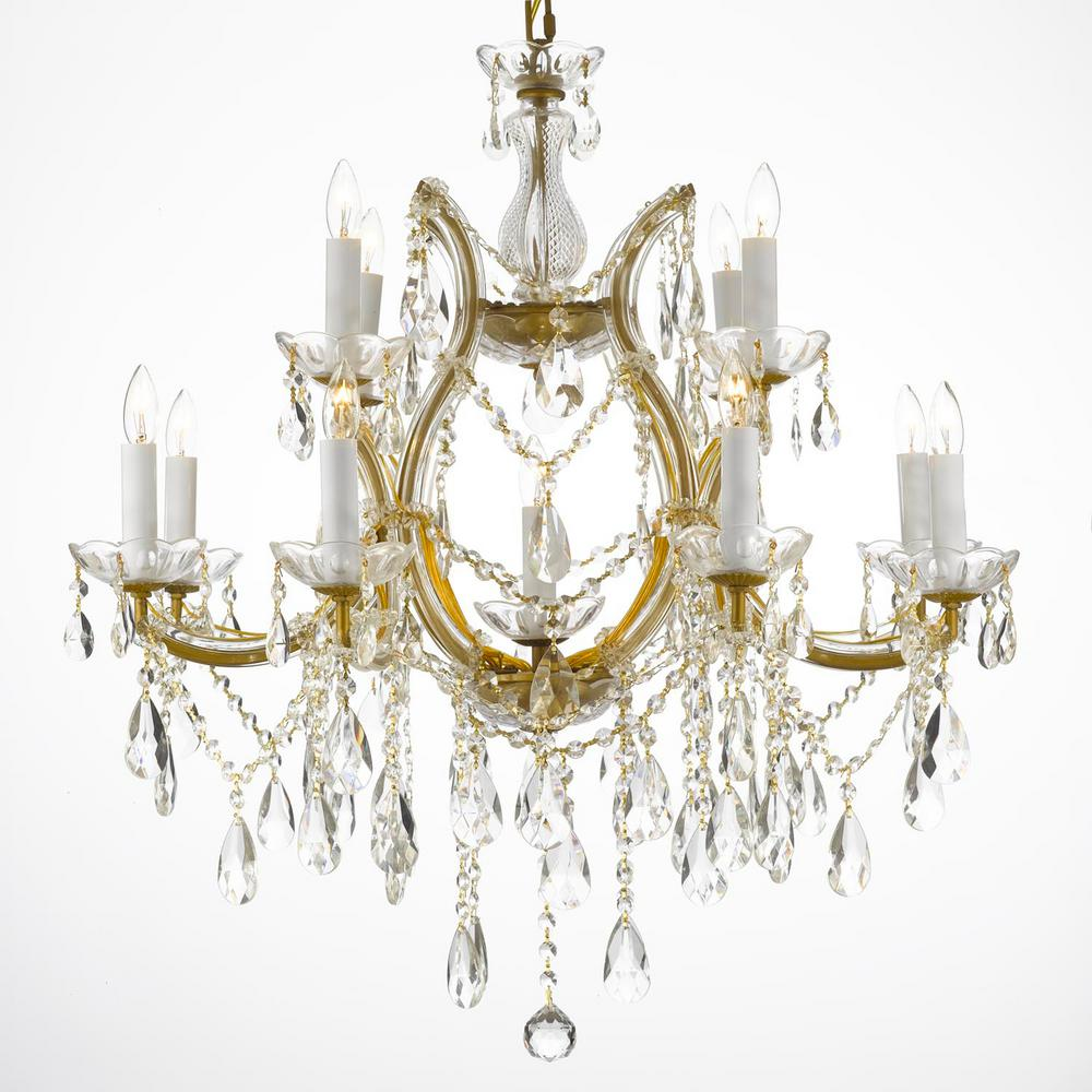 Maria theresa 13 light gold crystal chandelier t40 426 the home depot maria theresa 13 light gold crystal chandelier aloadofball Image collections