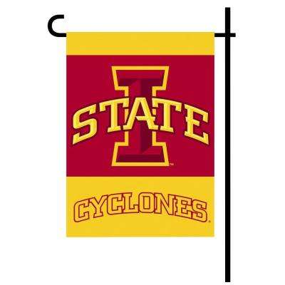 NCAA 13 in. x 18 in. Iowa State 2-Sided Garden Flag Set with 4 ft. Metal Flag Stand