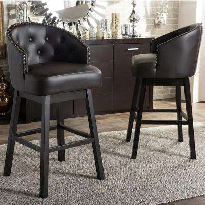 Baxton Studio Avril Brown Faux Leather Upholstered 2-Piece Bar Stool Set by Baxton Studio
