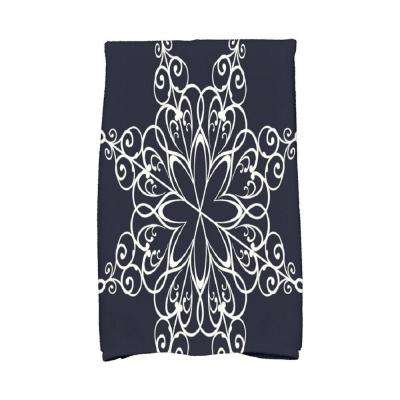 16 in. x 25 in. Navy Blue Snowflake Holiday Geometric Print Kitchen Towel