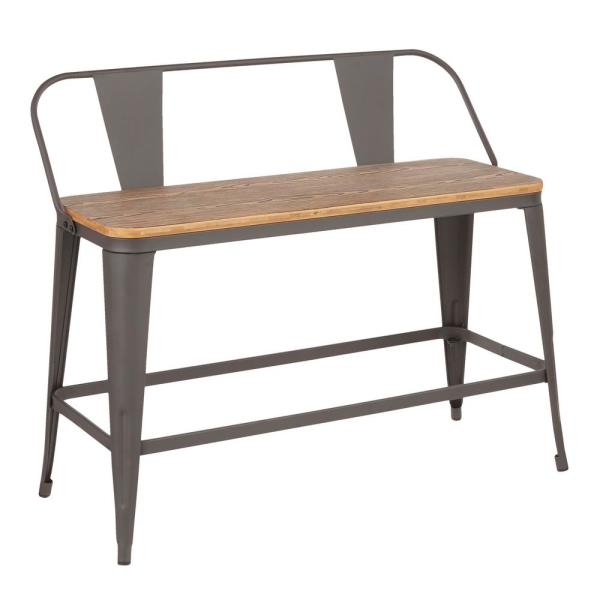 Oregon 26 in. Counter Height Bench in Grey Metal and Brown Wood