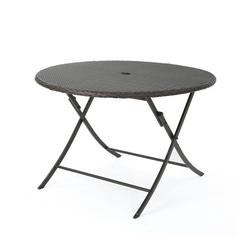 Dahlia Multibrown Circular Folding Wicker Outdoor Dining Table