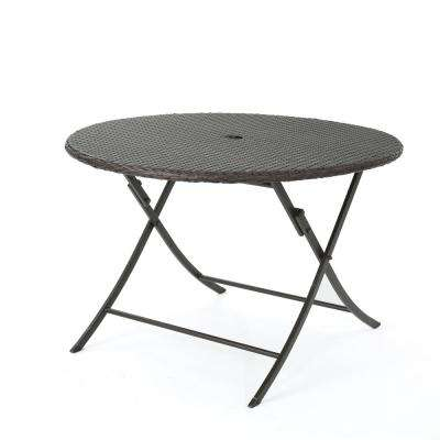 Dahlia Multibrown Circular Folding Wicker Outdoor Dining Table