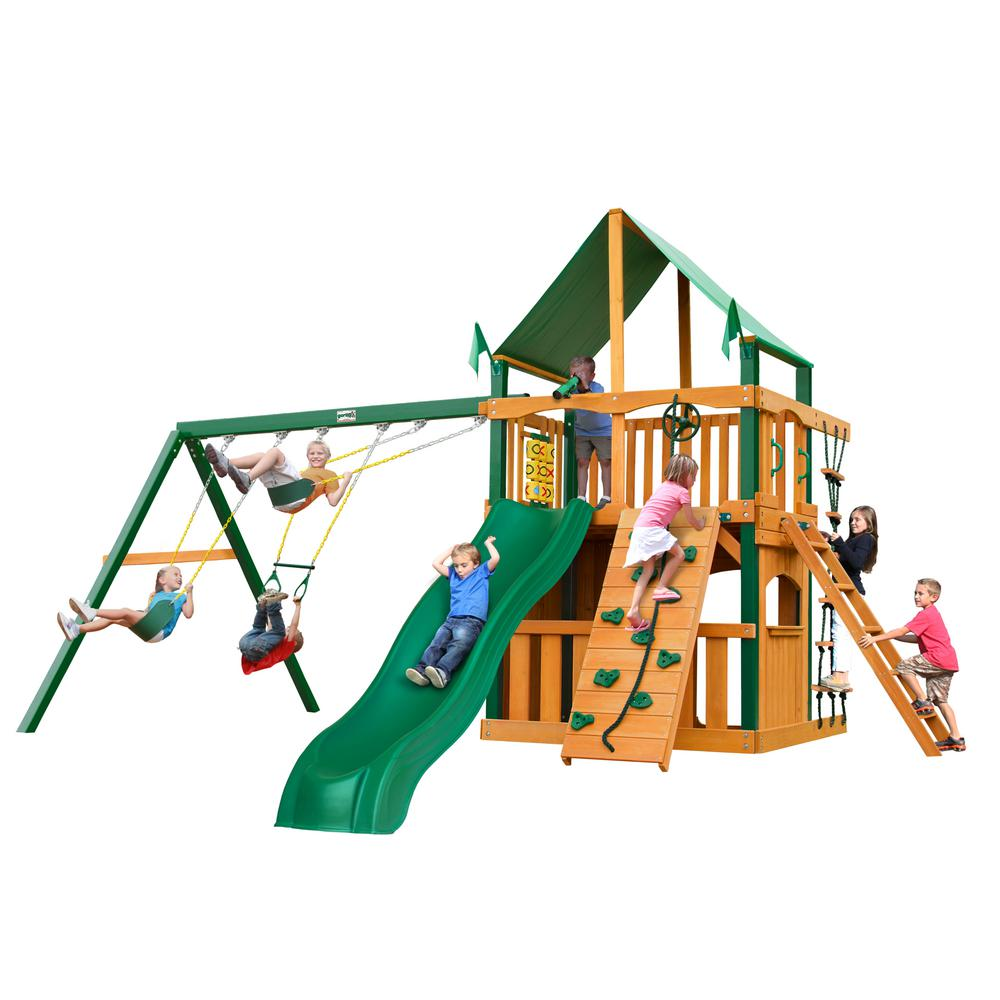 Gorilla Playsets Chateau Clubhouse Wooden Swing Set with Timber Shield Posts, Green Vinyl Canopy and Rock Wall