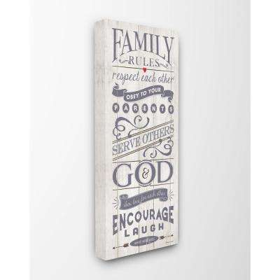 "10 in. x 24 in. ""Family Rules Respect Laugh Love Planked Look"" by Stephanie Workman Marrott Canvas Wall Art"