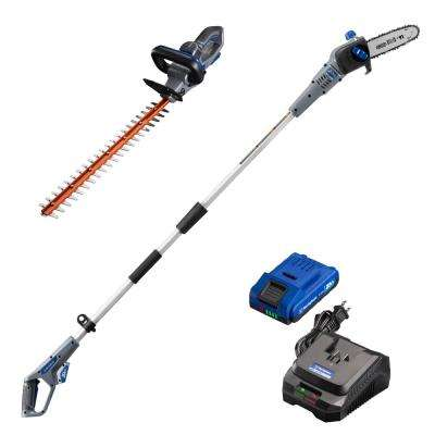 20-Volt Cordless Hedge Trimmer and Pole Saw Combo Kit (2-Tool) 2 Ah Battery and Rapid Charger Included