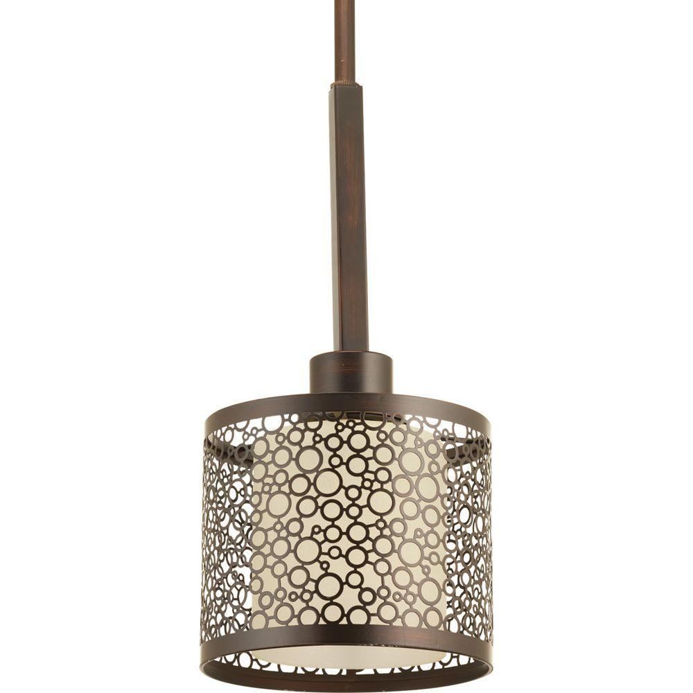 Mingle Collection 1-Light Antique Bronze Mini Pendant with Natural Parchment Glass