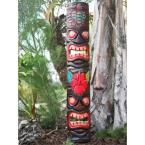 40 in. Tiki Mask Totem Turtle and Flower Outdoor Luau Decoration