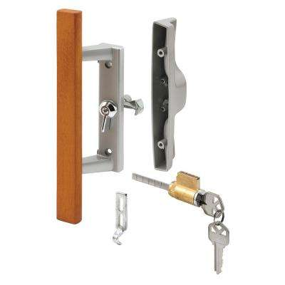 Diecast with Wood Handle, Gray, Patio Door Handle, Tee Lock, Keyed