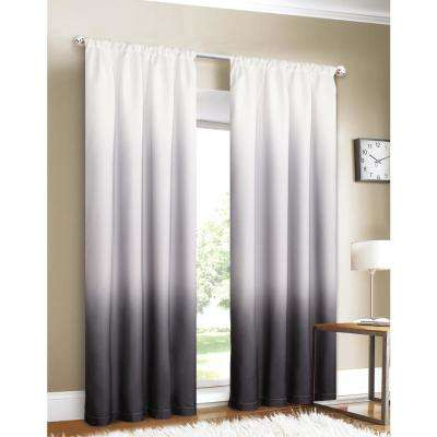 Shades 40 in. W x 84 in. L Ombre Design Window Panel Pair in Black (2-Pack)