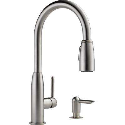 Apex Integrated Single-Handle Pull-Down Sprayer Kitchen Faucet with Soap Dispenser in Stainless
