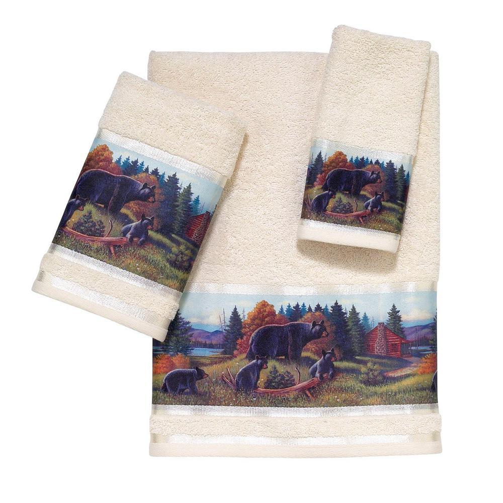 Black Bear Lodge 3-Piece Bath Towel Set in Beige
