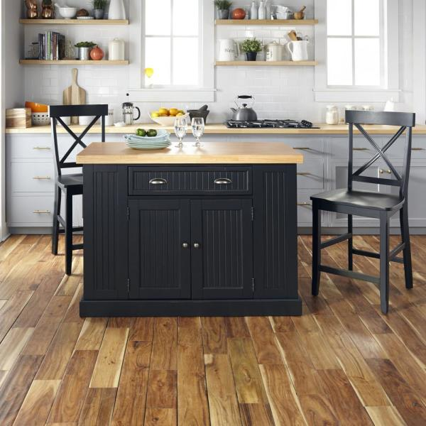 Homestyles Nantucket Black Kitchen Island With Wood Top And 2 Counter Stools 5033 94n8 The Home Depot