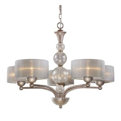 Alexis 5-Light Antique Silver Chandelier With Silver Fabric Shades