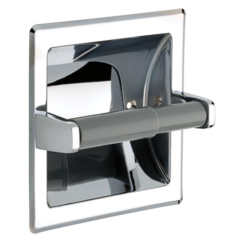 recessed toilet paper holder with plastic roller in chrome