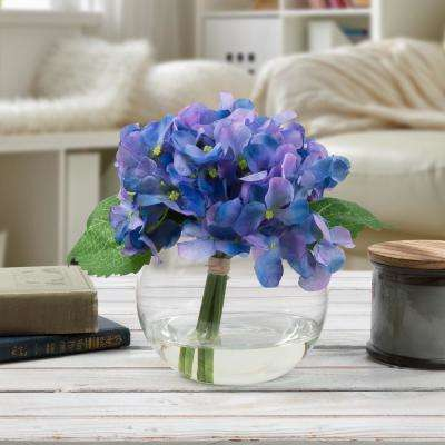 7.5 in. Hydrangea Artificial Floral Purple Arrangement