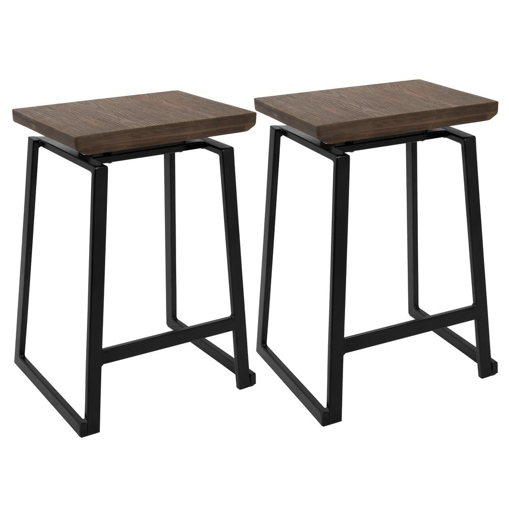 Walnut and black counter stool set of 2