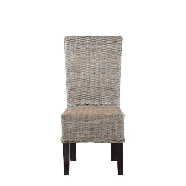 Crawford Burke Mamuju White Wash Beige Rattan L Dining Chair Set Of