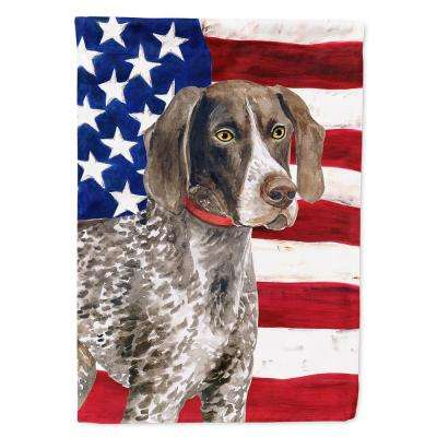 28 in. x 40 in. Canvas House Size 2-Sided Heavy-Weight Polyester German Shorthaired Pointer Patriotic Flag