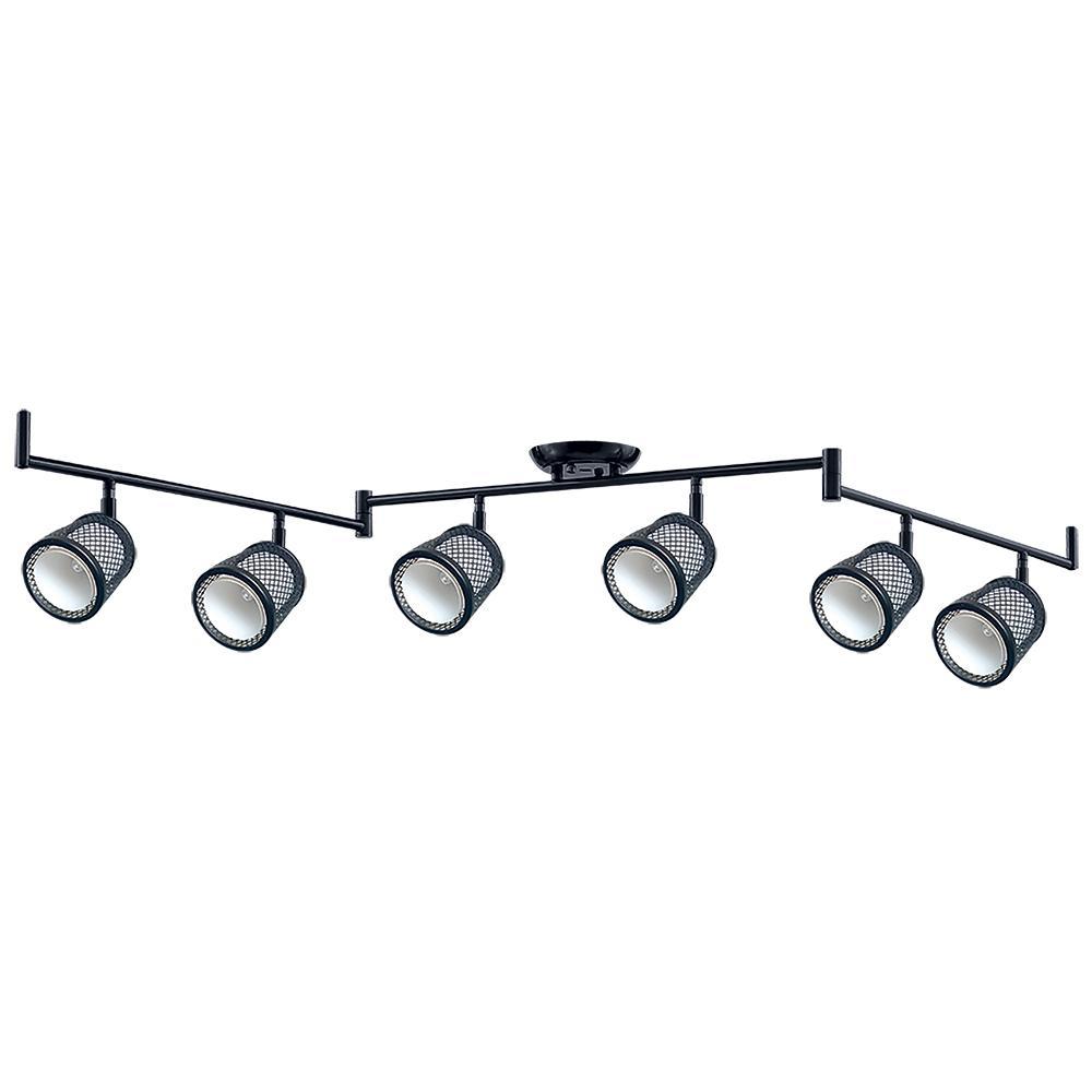 Baltimore 47.2 in. 6-Lights Black and Pewter Track Lighting Kit