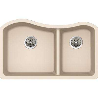 Premium Quartz Undermount Composite 33 in. Rounded 50/50 Double Bowl Kitchen Sink in Parchment