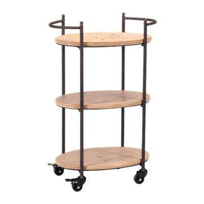 Tri Level Brown Bar Cart