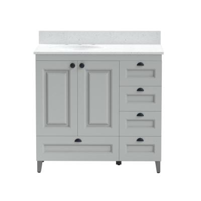36 in. Metal Bathroom Vanity in Gray with Iced White Engineered Marble Vanity Top with White Sink