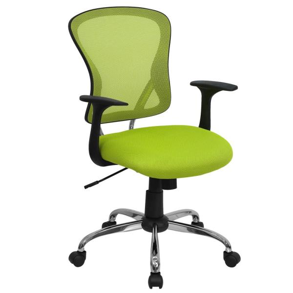 Flash Furniture Mid-Back Green Mesh Swivel Task Chair with Chrome Base