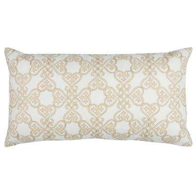 Geometric 14 in. x 26 in. White Decorative Filled Pillow